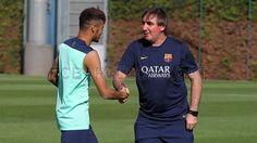 Neymar siendo recibido en su primer día de entrenamiento. 29.07.2013. FOTO: MIGUEL RUIZ - FCB
