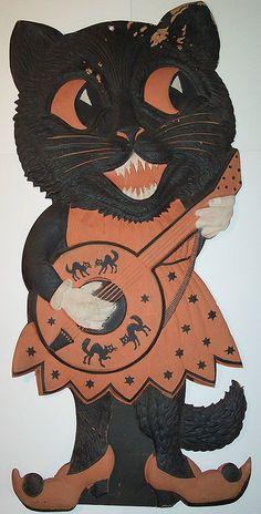 Black cat trick or treat giclee folk art print dollhouse vintage toy hat DC moon