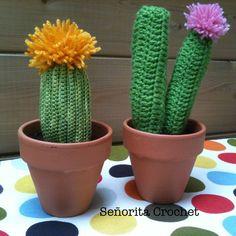 Cactus en crochet avec pompom Cactus de ganchillo con pompones Señorita Crochet