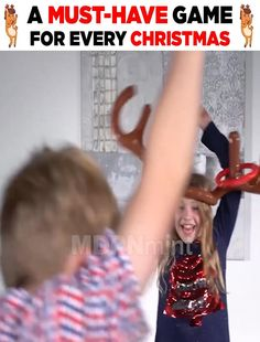 ENJOY SOME FESTIVE FUN WITH THIS PARTY GAME Add fun to your Christmas party with this inflatable ring toss game. Let's play Christmas reindeer games. Throw the round rings onto the large reindeer antlers on your friend's head and take turns wearing the antlers to make your own games. They will bring joy to your Christmas party! Reindeer Games, Reindeer Antlers, Wooden Christmas Decorations, Rustic Christmas, Christmas Games, Christmas Crafts, Make Your Own Game, Blonde Hair With Highlights, Ring Toss
