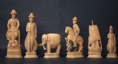Walrus Ivory Russian Kholmogory Chess Set, Turks vs Persians 18th Century King 9.0cms