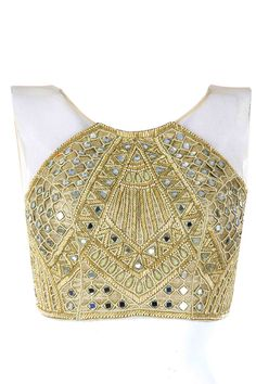 Gold raglan crop choli available only at Pernia's Pop-Up Shop.