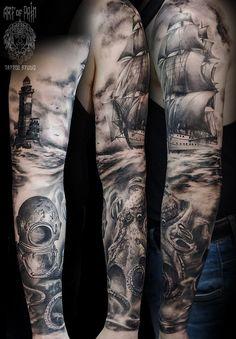 New nautical tattoo sleeve kraken pirate ships 58 ideas Ship Tattoo Sleeves, Ocean Sleeve Tattoos, Octopus Tattoo Sleeve, Nautical Tattoo Sleeve, Ocean Tattoos, Octopus Tattoos, Leg Sleeve Tattoo, Full Sleeve Tattoos, Tattoo Sleeve Designs