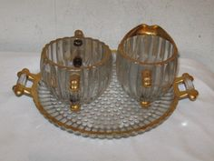 Vintage Jeannette Glass National Pattern Creamer and Sugar with Underplate VFC #JeannetteGlass