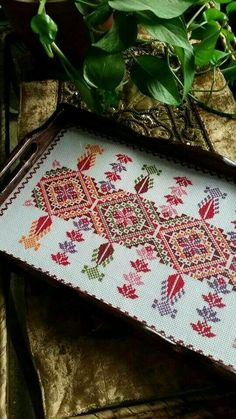 This Pin was discovered by Şey Embroidery Patterns Free, Diy Embroidery, Cross Stitch Embroidery, Cross Stitch Patterns, Sewing Patterns, Palestinian Embroidery, Just Cross Stitch, Crochet Motif, Cross Stitch Designs