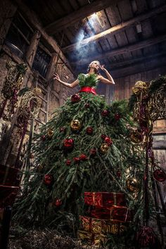 Try on something new this holiday season with an evergreen Christmas tree dress, an elegant and creative alternative to a Christmas tree. Mannequin Christmas Tree, Dress Form Christmas Tree, Real Christmas Tree, Noel Christmas, Xmas Tree, All Things Christmas, Beautiful Christmas, Christmas Tree Decorations, Christmas Crafts
