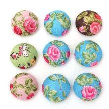 100 unids flores impresión Retro tela cubierta ronda casa de costura botones calientes de moda Flatback Scrapbook DIY(China (Mainland))