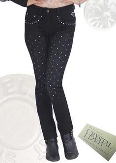 Black Skinny Fit Silver Swarovski Crystallized Jeans - Front Embellished