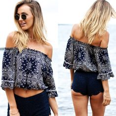 Women Fashion Sexy Strapless Off Shoulder Medium Sleeve Elastic Print Ruffle Tops Blouse