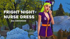 🎃 FRIGHT NIGHT NURSE DRESS 🎃Converted from Dead or Alive The first treat of Simblreen! A cute spooky nurse dress & hat, perfect for a very Mean Girls Halloween. - Disabled for random - Under short. Mean Girls Halloween, Night Nurse, Fright Night, Nursing Dress, Sims 4 Custom Content, Dress Hats, Sims Cc, Princess Zelda, Ts4 Cc