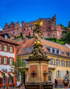 Castle and Madonna and Child Water Fountain, Heidelberg, Germany
