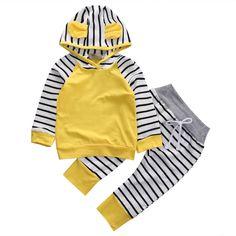 2 Pçs/set Nova Adorável Outono Bebê Recém-nascido Meninas meninos Infantil Romper playsuit Macacão Com Capuz Roupas Quentes Outfit0-3 anos