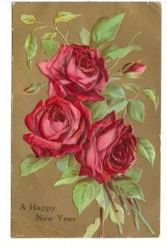Happy New Year, Flowers, Roses, Vintage Embossed Glitter Greetings Postcard Happy New Year Baby, Vintage Happy New Year, Happy New Year Greetings, Paper Lanterns Party, New Year Postcard, Balloon Banner, Happy Birthday Banners, Vintage Flowers, Vintage Postcards