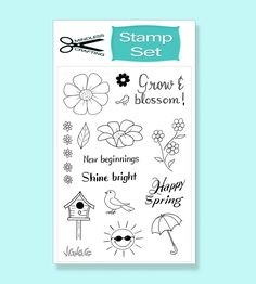 The Spring Blossom Stamp Set is a clear photopolymer stamp set. It's perfect for Spring or any other occasions. With 4 sentiments and 12 images, you can create a wide range of beautiful and cheerful cards. 12 Image, Spring Blossom, Cards Diy, Stamp Sets, Shinee, Stamps, Doodles, Crafting, Create