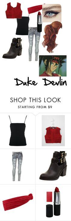 """Duke Devlin"" by maximumkhi ❤ liked on Polyvore featuring Giorgio Armani, Blue Inc Woman, Eugenia Kim, Devlin, anime, SexyBack, yugioh, Duke and dicemonsters"