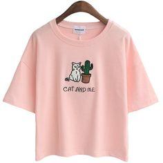 Wheretoget - Light pink cat and cactus tee-shirt