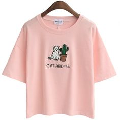 Wheretoget - Light pink cat and cactus tee-shirt