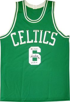 bfd7bc2a640 Bill Russell 5x MVP 11 Rings Autographed Boston Celtics Green Jersey which  you can ownership of
