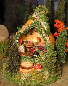Fairy Houses Miniature Fairy Gourd by WoodlandFairyVillage on Etsy, $48.00