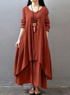 Solid Pockets Long Sleeve Midi Shift Dress - Floryday @ floryday.com