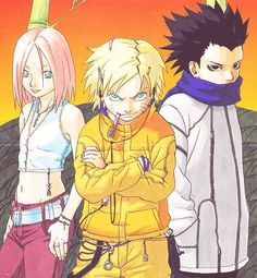Kishimoto's original team 7 design!<<<<< Bitch the fuck!? thats sasuke cosplyin as shino! this whole pic is scary as shit!<< this comment left me in tears