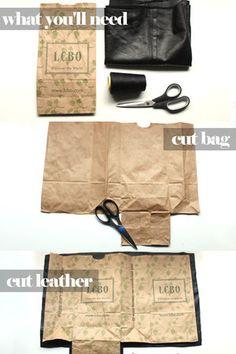 Use a grocery bag, cut shorter, and make a tote? DIY sachet en cuir à partir d'un brown bag