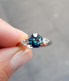 Sapphire Diamond Engagement, Rose Gold Engagement Ring, Engagement Ring Settings, Vintage Engagement Rings, Sapphire Rings, Sapphire Gemstone, Blue Sapphire, Coloured Stone Engagement Rings, Square Halo Engagement Rings