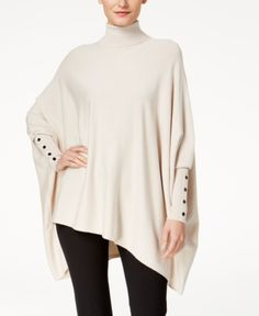 982b844c489b Alfani Turtleneck Poncho Sweater, Created for Macy's - Tan/Beige XL  Jobbkläder, Svartvitt