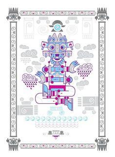 Una serie de 4 Dioses hechos en serigrafías impresas a mano. Realizados para la agencia WetBackAudio. Digital Illustration, Graphic Illustration, Mexican Graphic Design, Aztec Religion, Aztec Culture, Aztec Calendar, Mexico Art, Aztec Art, Mesoamerican