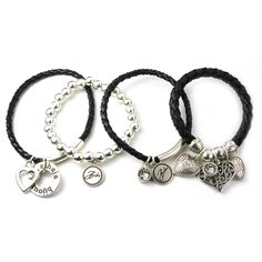 Bibi Bijoux Set of Four Heart and Crystal Cluster Bracelets in Leather and Silver