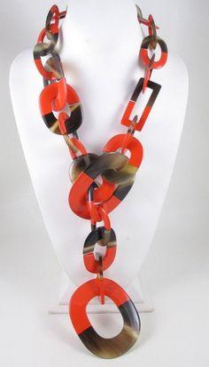 Striking Hermes Orange Lacquered Horn Necklace