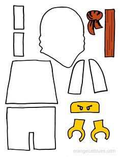 Lego Ninjago printable cutout for toddler gluestick art: The White Ninja, Zane