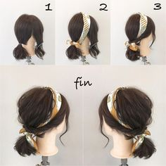 【HAIR】 Snap de coiffure de Akira Shinya (ID: - # hairart . - New Hair Styles Headband Hairstyles, Up Hairstyles, Scarf Hairstyles Short, Hairstyle Ideas, Simple Hairstyles, Hairstyle Short Hair, Waitress Hairstyles, Simple Hairdos, Easy Beach Hairstyles
