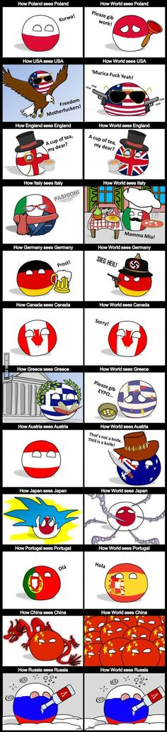 """""""How countries think they are compared to how the world see them."""" ( Poland, USA, England, Italy, Germaney, Canada, Greece, Austria, Japan, Portugal, China, Russia )   #polandball #countryball #flagball"""