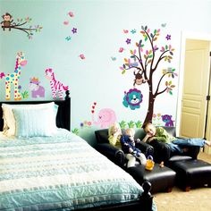 XXL Baum niedliche Eule Affe Giraffe Elefant Wandaufkleber Wall Sticker [Can i do best] Nursery Room Decor, Nursery Wall Decals, Rooms Home Decor, Vinyl Wall Decals, Vinyl Art, Sticker Vinyl, Playroom Decor, Wall Mural, Wall Decor