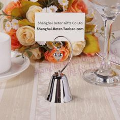 BeterWedding Decoration Sale WJ019 Silver Bell Place Card Holder Wedding Favors Gift