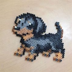 Dachshund dog perler beads by perler. Perler Bead Designs, Easy Perler Bead Patterns, Melty Bead Patterns, Perler Bead Templates, Hama Beads Design, Diy Perler Beads, Pearler Beads, Fuse Beads, Beading Patterns