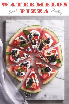 Sweet Watermelon Pizza – Go Dairy Free Sweet Watermelon Pizza Sweet Watermelon Pizza Recipe with Fresh & Fruity Toppings! Healthy, dairy-free, plant-based, gluten-free dessert for summer snacks, potlucks and barbecues! Watermelon Pizza, Sweet Watermelon, Watermelon Appetizer, Watermelon Lemonade, Watermelon Recipes, Gluten Free Desserts, Dessert Recipes, Pizza Recipes, Sweet Pizza