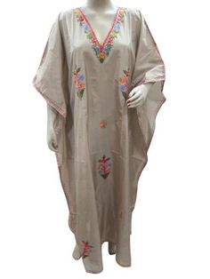 Brown Silk Caftan Dress Crewel Embroidered Kaftan