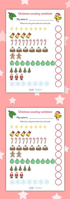 Counting at Christmas Worksheet Preschool Christmas Activities, Christmas Worksheets, Pre K Activities, Christmas Crafts For Kids, Math Numbers, Learning Numbers, Merry Christmas And Happy New Year, Christmas Time, Holiday