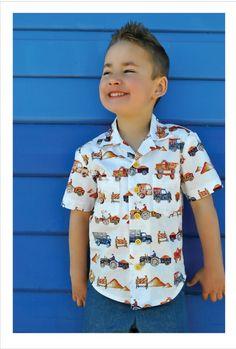 Boy's Hawaiian shirt sewing pattern for kids years. THOMAS SHIRT pdf sewing pattern for childrens casual shirt. Sewing Shirts, Sewing Clothes, Sewing Men, Men Clothes, Free Sewing, Hand Sewing, Boys Hawaiian Shirt, Hawaiian Print Fabric, Sewing Patterns For Kids