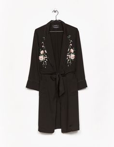 Long dressing gown with floral embroidery and belt - Coats & Jackets - Bershka Ukraine