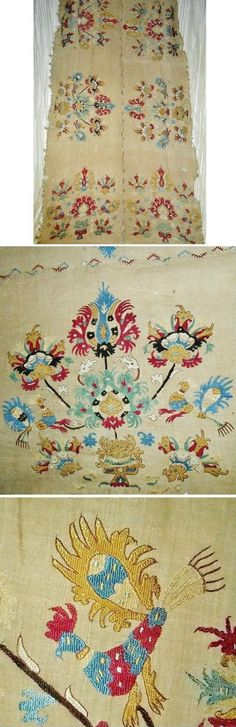 Greek silk embroidery from the island of Skyros.  Ottoman era, ca. 1700.  Featuring stylized flowers and roosters.  Size: 213 x 86 cm.