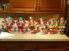 Christmas candy bouquets.