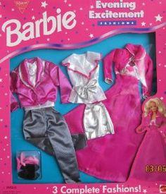 Barbie Evening Excitement Fashions - 3 OUTFITS for Barbie  Ken (1995 Arcotoys, Mattel)