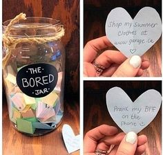 "Get any jar you would like and title it ""bored jar"". Next, put little slips of paper in the jar and title each of them ideas to do when your bored. So next time your looking for something to do. Just go to your bored jar! My New Room, My Room, Diy Décoration, Easy Diy, Bored Jar, Do It Yourself Decoration, What To Do When Bored, Things To Do When Bored For Teens, Cool Things To Do"