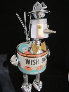 Coo Coo Coffee Roo Bot found object robot sculpture por ckudja