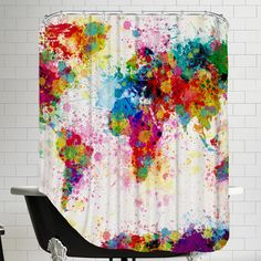 World Map Shower Curtain   Wayfair.ca