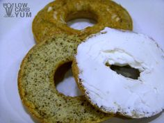 An easy low carb bagel recipe made at home with a donut mold pan. These gluten free onion bagels are made with flax and coconut flour.