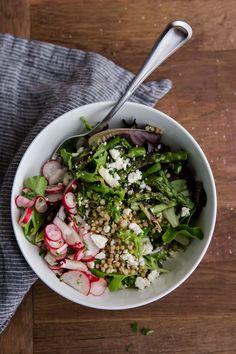 Radish and Roasted Asparagus Sorghum Salad | radish, spring onion, roasted asparagus, sorghum, feta, lettuce